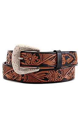 Vogt Men's Russet Brown and Black Floral Tooled Western Belt
