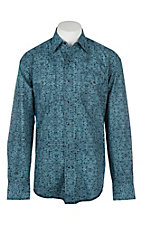 Stetson Men's Blue Distressed Floral Print L/S Western Snap Shirt
