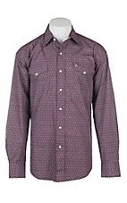 Stetson Men's Wine Medallion Print L/S Western Snap Shirt