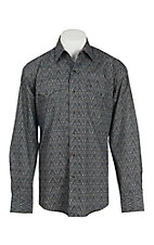 Stetson Men's Grey and Black Paisley Print L/S Western Snap Shirt