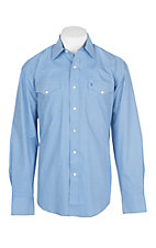 Stetson Men's Blue and White Mini Print L/S Western Snap Shirt