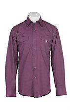 Stetson Men's Wine, White and Navy Mini Print L/S Western Snap Shirt