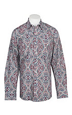 Stetson Men's Wine, White and Navy Paisley Medallion Print L/S Western Snap Shirt