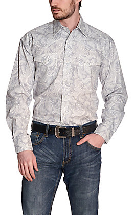 Stetson Men's Grey with White Paisley Print Long Sleeve Western Shirt