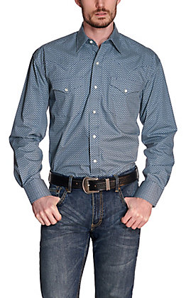 Stetson Men's Navy Blue with Geo Print Long Sleeve Western Shirt