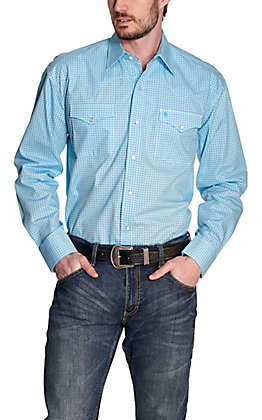 Stetson Men's Turquoise with Red & White Square Print Long Sleeve Western Shirt