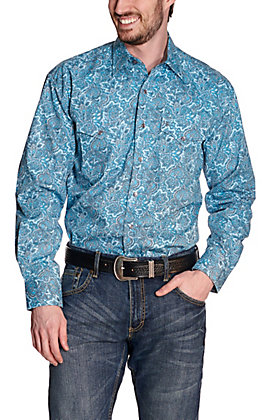Stetson Men's Turquoise and Light Blue Paisley Print Long Sleeve Western Shirt