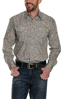 Stetson Men's Brown with White & Navy Paisley Print Long Sleeve Western Shirt