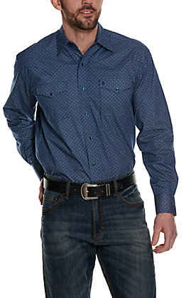 Stetson Men's Blue with White Circle Geo Print Long Sleeve Western Shirt