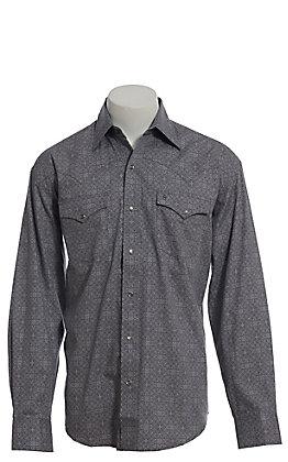 Stetson Men's Grey Geo Print Long Sleeve Western Shirt