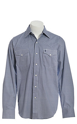 Stetson Men's Blue Geo Print Long Sleeve Western Shirt