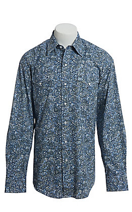 Stetson Men's Blue Paisley Snap Western Shirt
