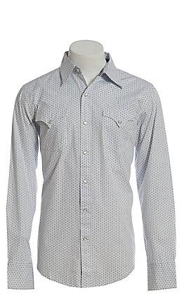 Stetson Men's Blue Geo Print Long Sleeve Western Shirt