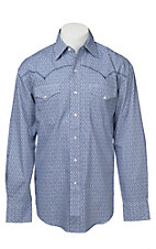 Stetson Men's Navy & White Mini Print Long Sleeve Western Shirt