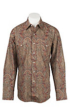 Stetson Men's Wine and Brown Large Print Long Sleeve Western Snap Shirt