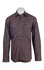 Stetson Men's Brown & Purple Paisley Print Western Shirt