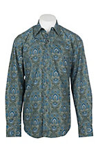 Stetson Men's Green and Blue Mini Medallion Print L/S Western Snap Shirt