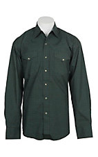 Stetson Men's Green and Blue Mini Square Print L/S Western Snap Shirt