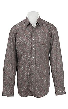 Stetson Men's Grey Paisley Snap Front Western Shirt