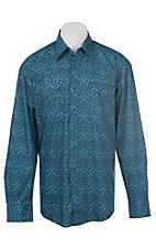 Stetson Men's Blue Medallion Print Western Shirt