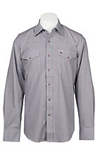Stetson Men's Wine Geo Print Long Sleeve Western Shirt