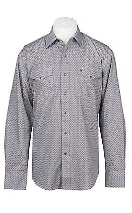 Stetson Men's Wine Geo Print Long Sleeve Western Shirt
