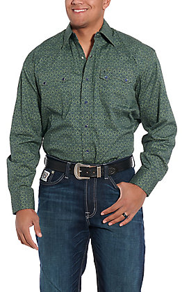 Stetson Men's Green Medallion Print Long Sleeve Western Shirt