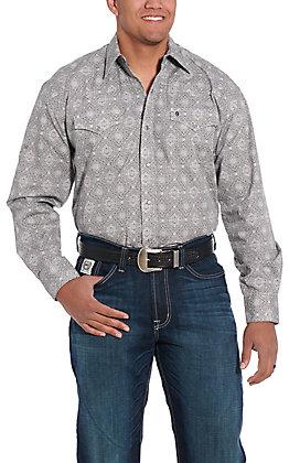 Stetson Men's Grey Medallion Long Sleeve Western Shirt