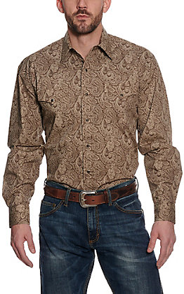 Stetson Men's Brown Paisley Print Long Sleeve Western Shirt