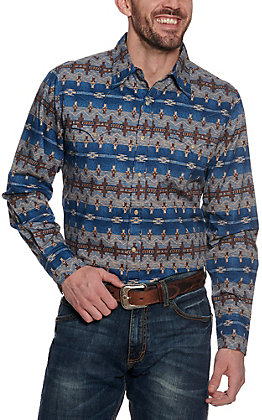 Stetson Men's Blue Aztec Print Long Sleeve Western Shirt