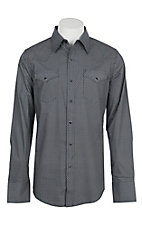 Stetson Men's Blue and White Mini Diamond Print L/S Western Snap Shirt