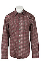 Stetson Men's Red & Grey Mini Print Long Sleeve Western Shirt