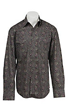 Stetson Men's Grey Paisley Print Long Sleeve Western Shirt