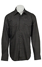 Stetson Men's Black Mini Circle Print Long Sleeve Western Shirt