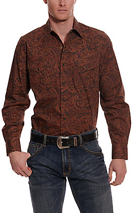 Stetson Men's Brown Paisley Long Sleeve Western Shirt