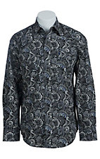 Stetson Men's Grey on Grey Paisley Print Western Shirt