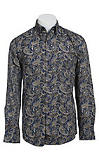 Stetson Men's Navy & Taupe Paisley Print Long Sleeve Western Shirt