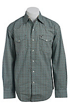 Stetson Men's Brown & Turquoise Step Print Long Sleeve Western Snap Shirt