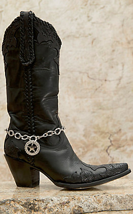 Blazin Roxx Silver Chain with Crystal Star Charm Boot Bracelet