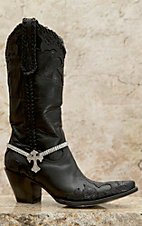 Blazin Roxx Crystal Chain w/ Crystal Cross Charm Boot Bracelet
