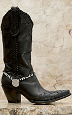 Blazin Roxx Black & Clear Rhinestones w/ Crystal Cross Charm Boot Bracelet