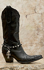 Blazin Roxx Silver Cross Charms & Black Beaded Boot Bracelet