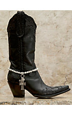 Blazin Roxx Silver Cross Charms & Pearl Beaded Boot Bracelet