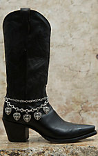 Blazin Roxx Silver Double Chain with Heart Charms Boot Bracelet