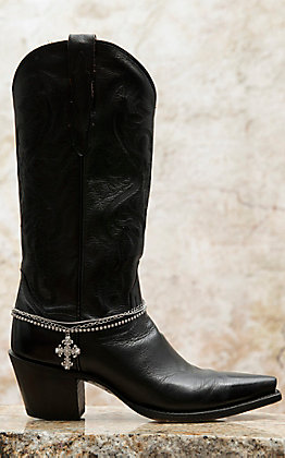 Blazin Roxx Silver Triple Chain with Crystal Cross Charm Boot Bracelet
