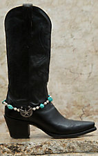 Blazin Roxx Silver Horseshoe & Winged Star Charm with Turquoise Stones & Pearl Beads Boot Bracelet