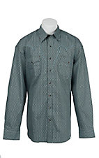 Stetson Men's Brown & Turquoise Mini Print Long Sleeve Western Shirt