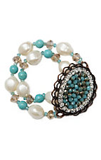 Pearl and Turquoise Beads with a Turquoise Oval Pendant Bracelet