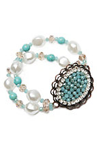 Southern Junkie Crystal & Turquoise Chunky Beaded Double Strand w/ Pendant Bracelet