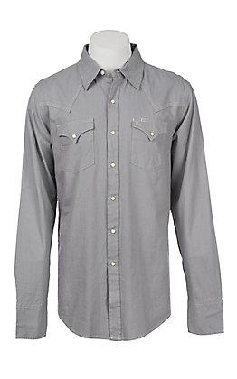 Stetson Men's Solid Grey Twill Western Snap Shirt